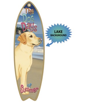 Surfboard with Lake bkgd -  Yellow Lab