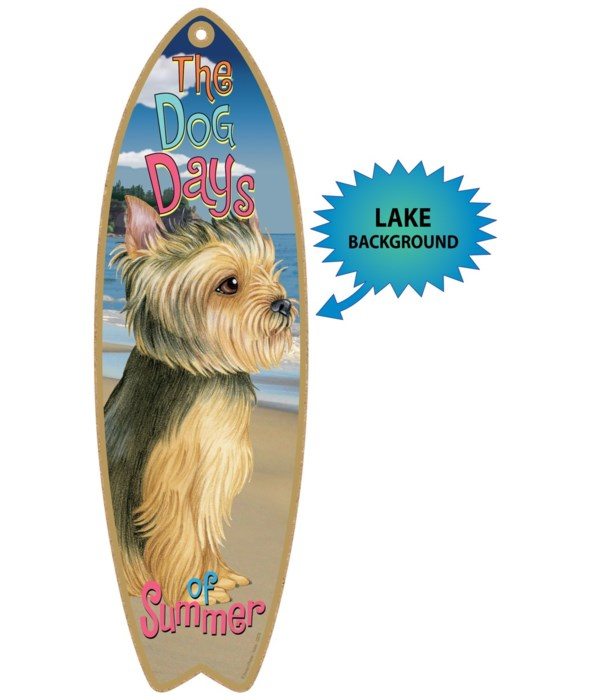 Surfboard with Lake bkgd -  Yorkie