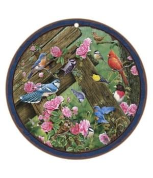 "Birds 10"" Round Wood Plaque"