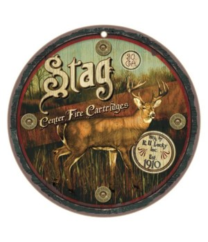 "Stag 10"" Round Wood Plaque"