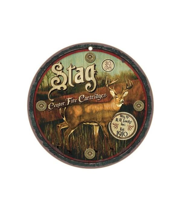 "Stag 10"" Round Wood Plaque"