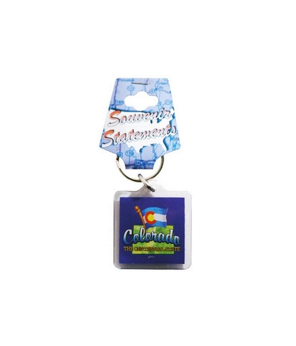CO Keychain Lucite Map/Flag