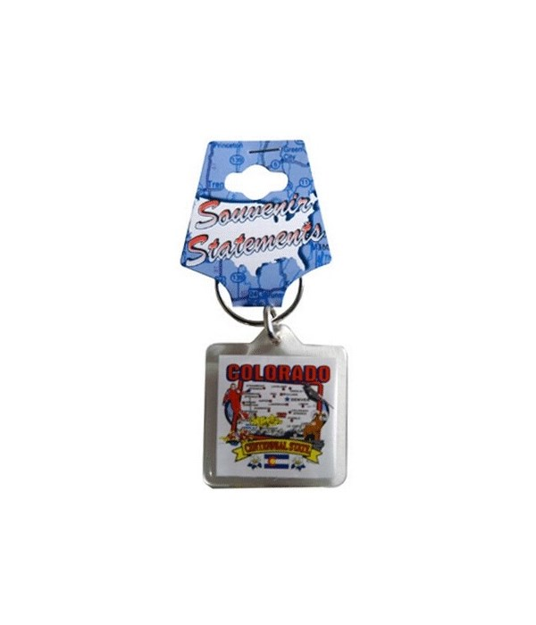 CO Keychain Lucite State Map
