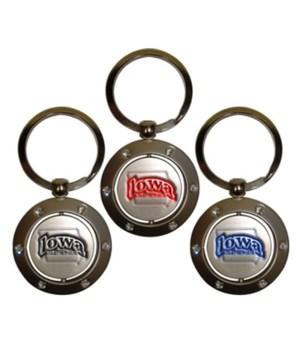 Iowa Keychain Spinner Rhinestones
