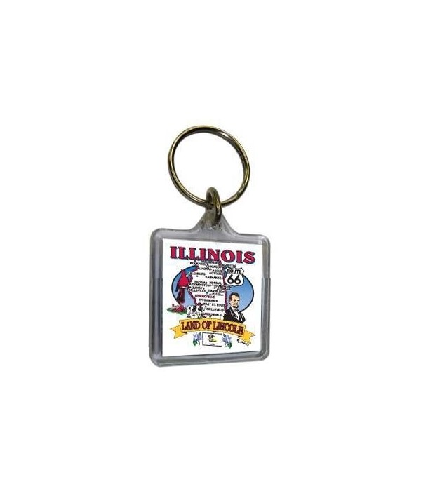 IL Keychain Lucite State Map