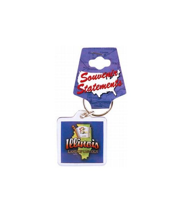 IL Keychain Lucite Map/Flag
