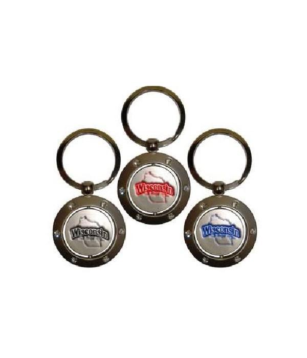 WI Keychain Spinner Rhinestones
