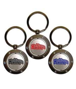 MI Keychain Spinner Rhinestones