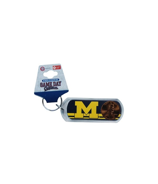 U of M Keychain Lucite Lucky Penny