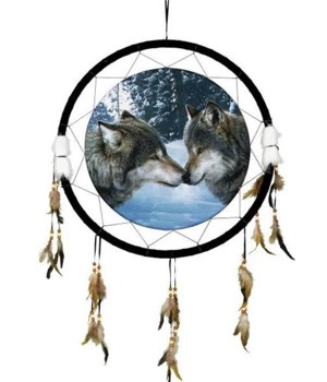 "Dreamcatcher 24"" 2 wolves in snow"