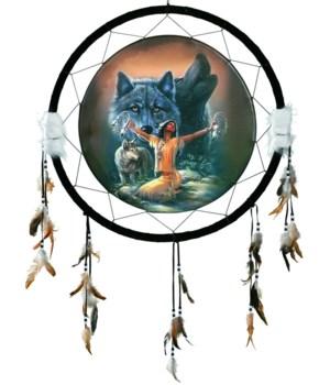 "Dreamcatcher 24"" Wolves w/ Indian"