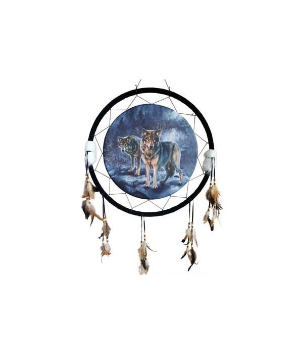 """Dreamcatcher 24"""" 2 wolves/cattails"""