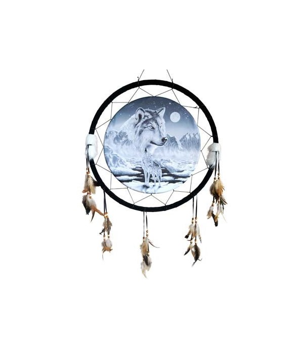 "Dreamcatcher 24"" B/W wolves, mtns/moon"