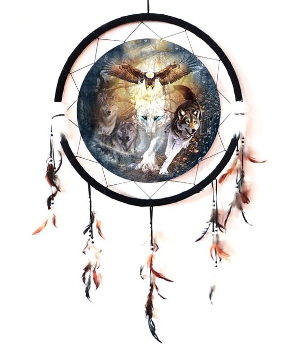 """Dreamcatcher 24"""" Wolves w/ eagle"""