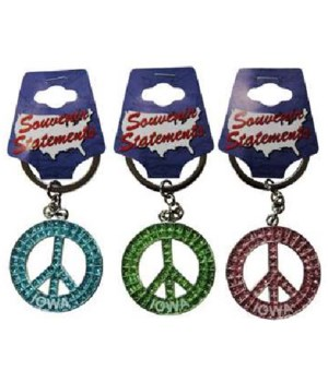 Iowa Keychain Glitter Peace Symbol