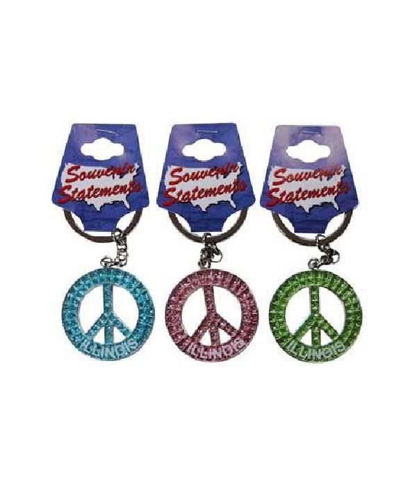 IL Keychain Glitter Peace Symbol