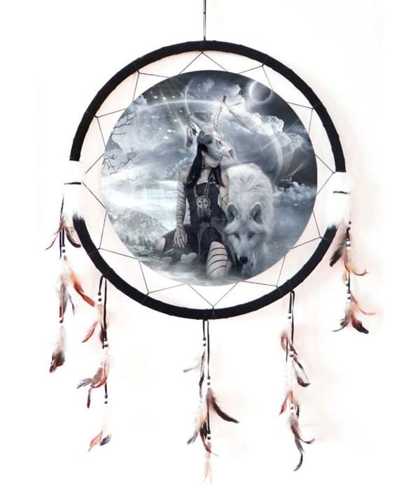 """Dreamcatcher 24"""" wolf w/Indian"""