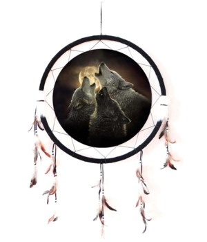 "Dreamcatcher 24"" 3 Wolves bay at moon"