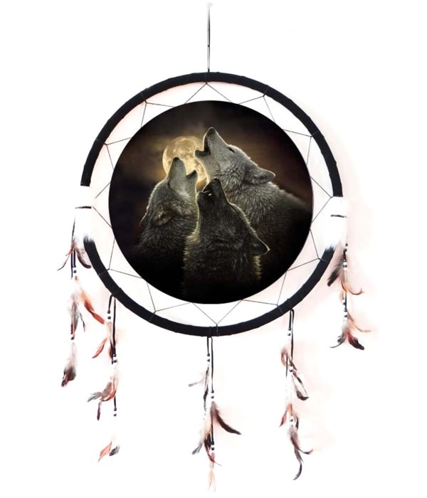 """Dreamcatcher 24"""" 3 Wolves bay at moon"""