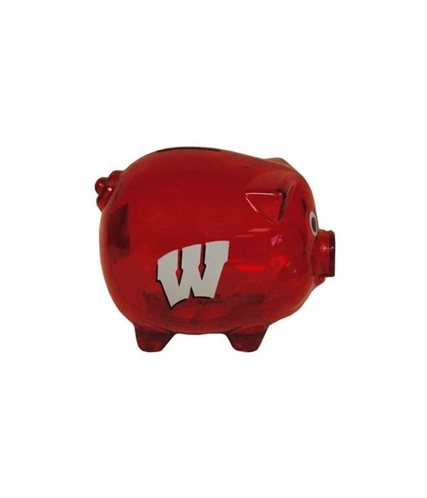 U-WI Bank Pig Clear Plastic 4x5x4