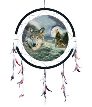 "Dreamcatcher 24"" Wolf/moon&bust/snow"