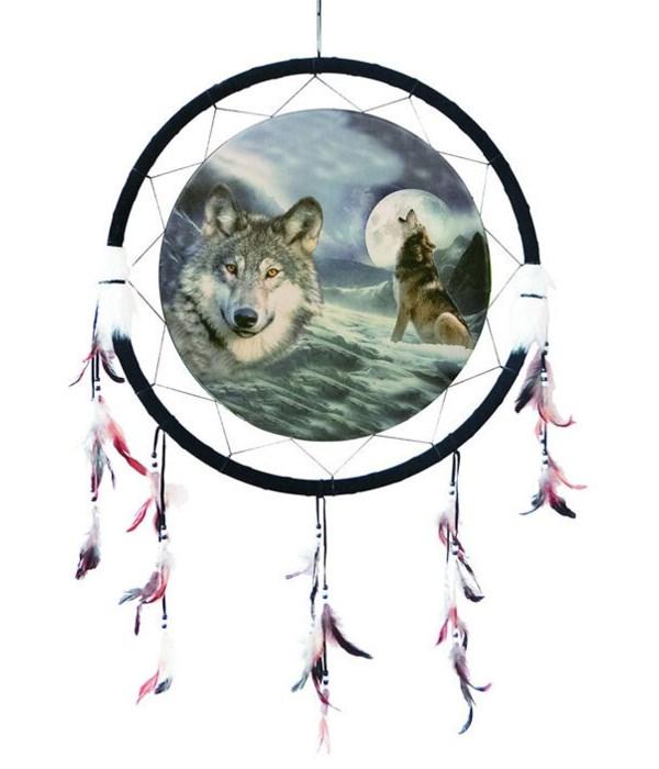 "Dreamcatcher 24"" Wolf/moon&bust/snow"