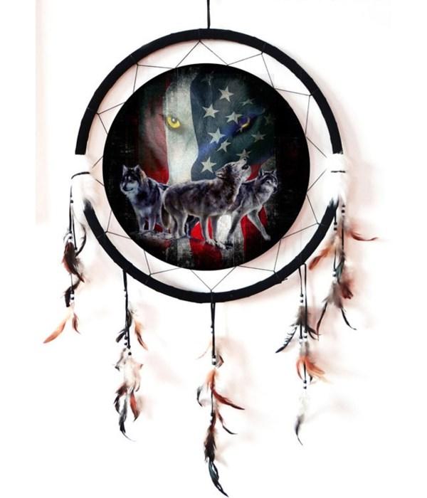"Dreamcatcher 24"" Wolves /flag"