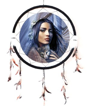 "Dreamcatcher 24"" Native woman/wolf pup"