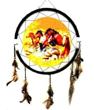 """Dreamcatcher 24"""" Horses/golden sky"""