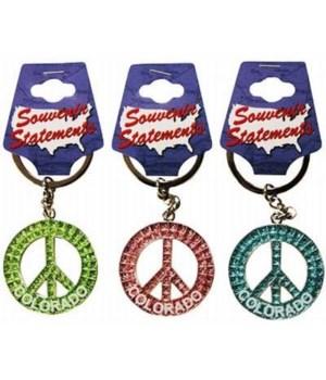 CO Keychain Glitter Peace Symbol