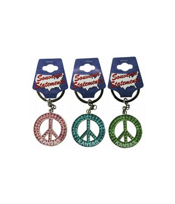 KS Keychain Glitter Peace Symbol