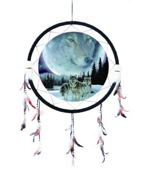 "Dreamcatcher 24"" 3 Wolves/Moon Wolf"