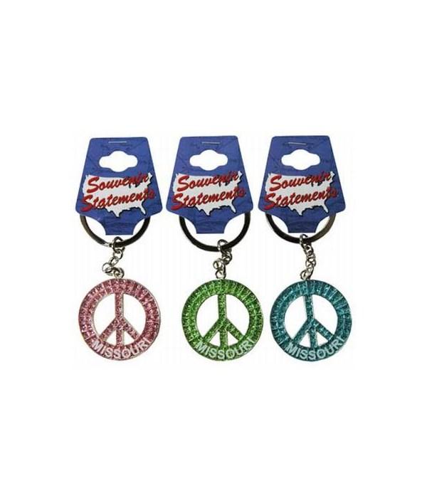 MO Keychain Glitter Peace Symbol