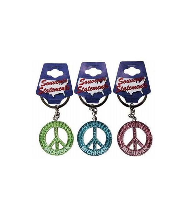 MI Keychain Glitter Peace Symbol