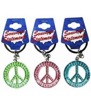 WI Keychain Glitter Peace Symbol
