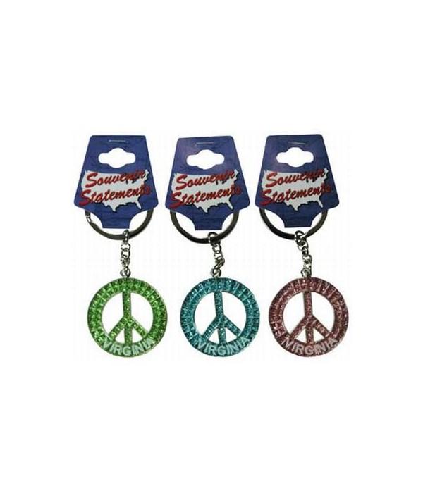 Virginia Keychain Glitter Peace Symbol