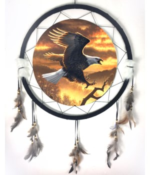"Dreamcatcher 24"" Eagle flies golden sky"