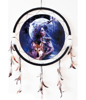 "Dreamcatcher 24"" Native Woman/Wolves/Owl"