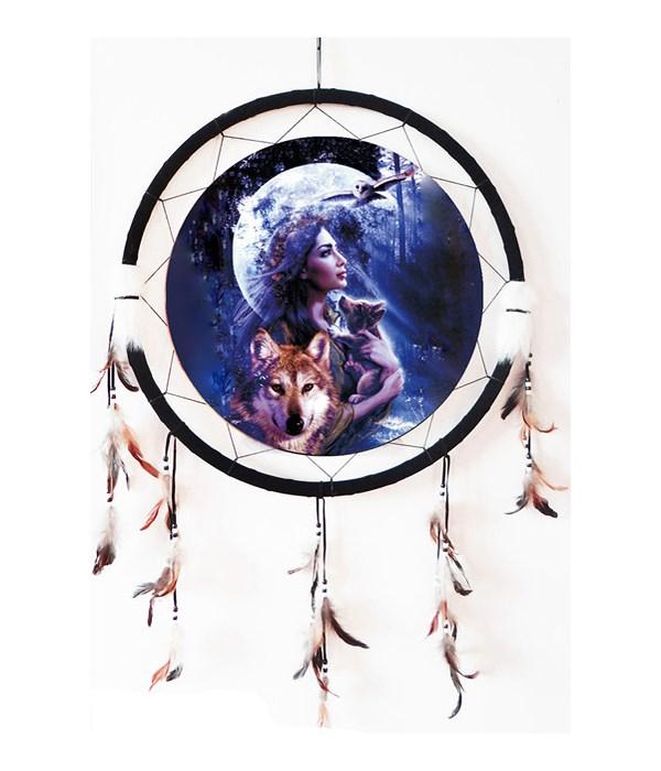 "Dreamcatcher 24"" Native Woman/Wolves/Owl"