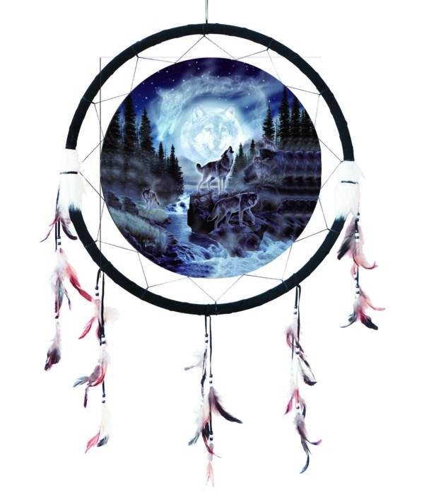 """Dreamcatcher 24"""" Wolves / river"""