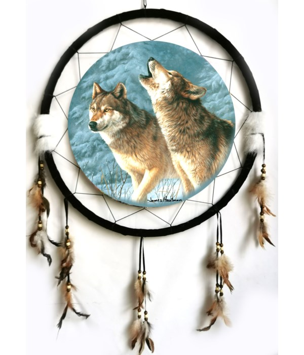 """Dreamcatcher 24"""" Wolves (2) - Snowy Pines"""