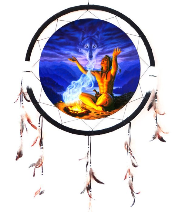 "Dreamcatcher 24"" Indian w/Fire (Wolf in Smoke)"