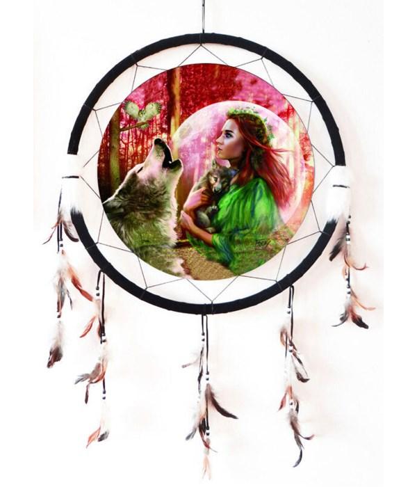 """Dreamcatcher 24"""" Girl - Wolves & Owls"""