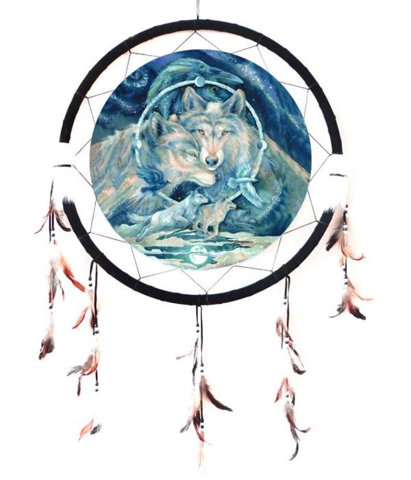 """Dreamcatcher 24"""" Wolves (Blue)"""