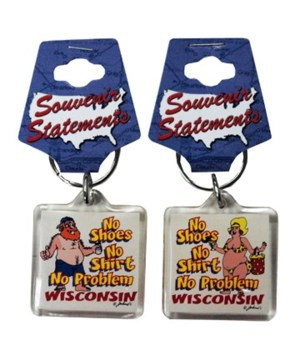 WI Keychain Lucite No Shoes, No Shirt