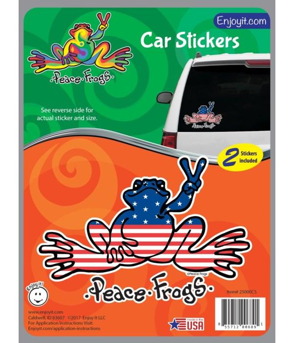 U.S.A. Peace Frogs Car Sticker