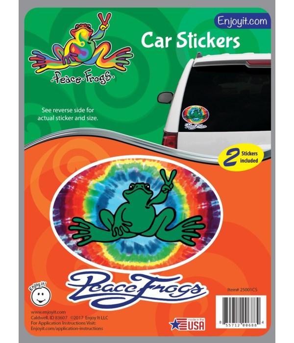 Tie Die Oval Peace Frogs Car Sticker