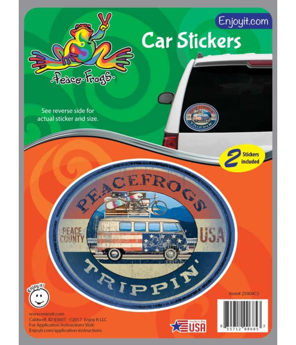 Trippin' Peace Frogs Car Sticker