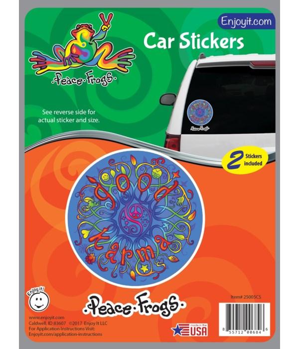 Good Karma Peace Frogs Car Sticker