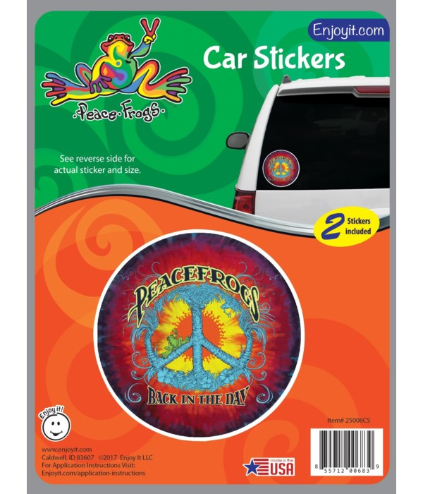 Back in the Day Peace Frogs Car Sticker